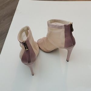 Cape Robbin Shoes - Cape Robbin peek toe blush mesh and satin booties